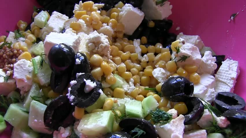 Stirring salad with cheese Fat - HD stock video clip