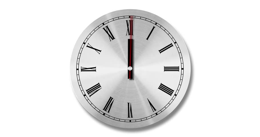 A clock animation on white background. Animation is loop ready and it includes a complete 24 hour cycle. Alpha matte is included. Great use for time management concepts.