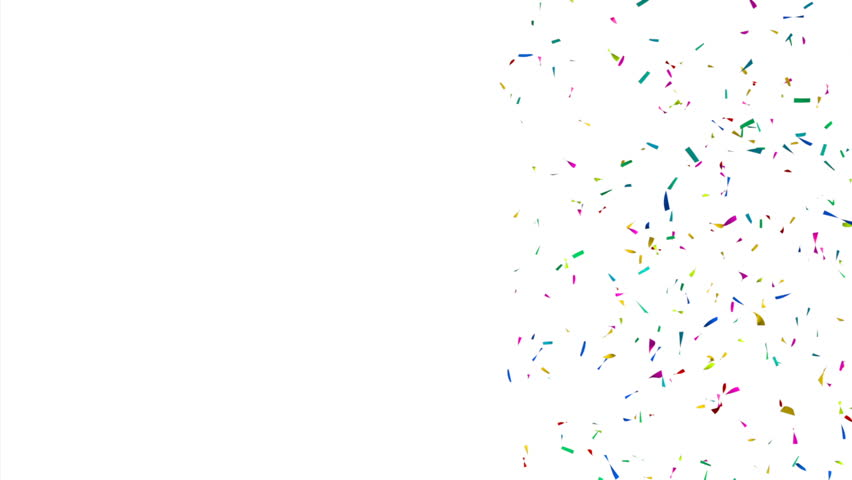 Colorful Confetti in front of a White Background with Copy Space - HD stock video clip