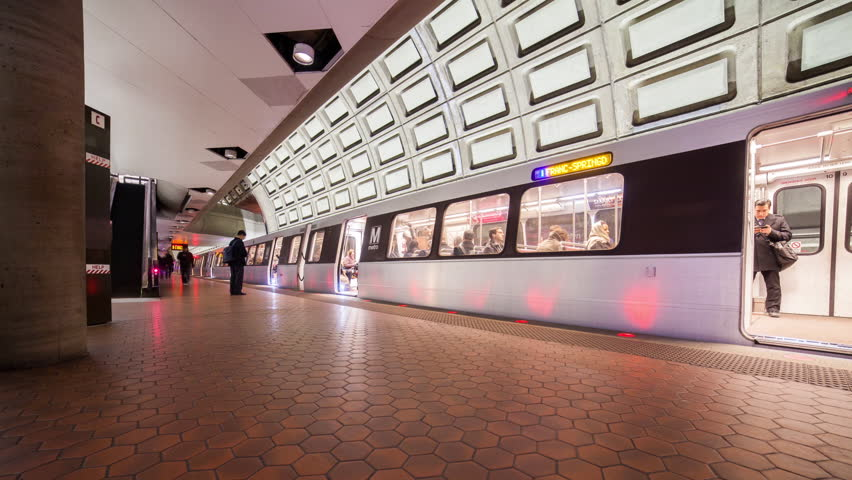 WASHINGTON DC - FEB 19, 2014: Timelapse view over the metro urban railway system or metrorail which is the second-busiest rapid transit system in the United States on 19 February 2014 in WASHINGTON DC, USA - HD stock footage clip