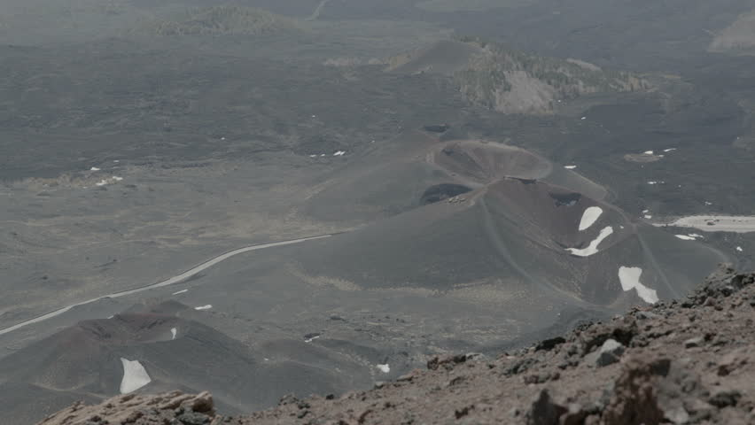 WS PAN Scenic view of volcanic landscape / Mount Etna, Province of Catania, Sicily, Italy - 04/05/2013 - HD stock footage clip