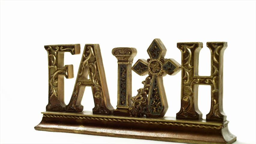 Words of encouragement: Faith, Love, Hope, Peace, Pray, & Relax, in wood against a white background. - HD stock video clip