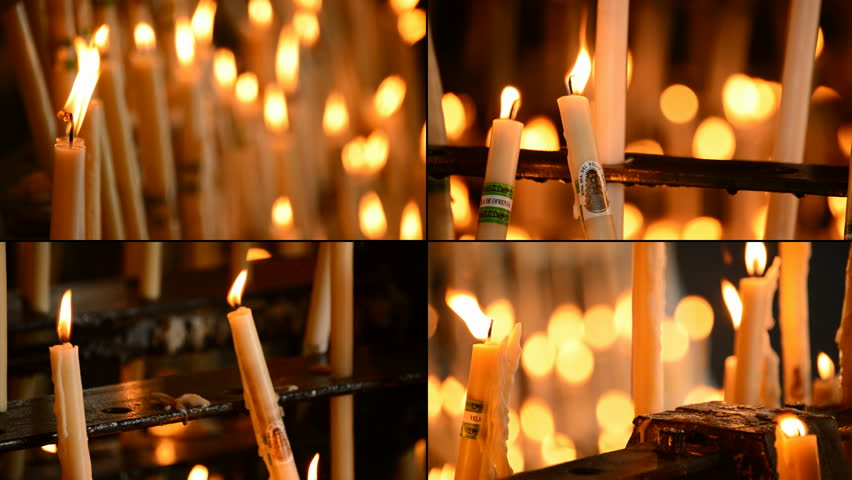 4K CANDLES AT CANDLESTICK CHURCH - 4K stock video clip