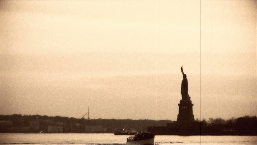 Archival shot of Statue of Liberty