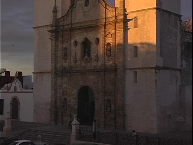 A spectacular shot of the facade of the Cathedral in Campeche, Mexico at sunset.