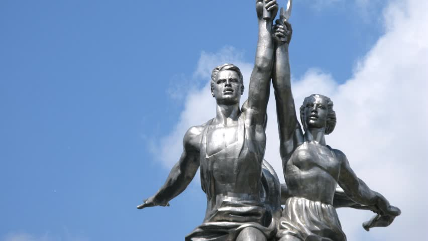 Worker and Kolkhoz Woman, close-up view, time lapse - HD stock video clip