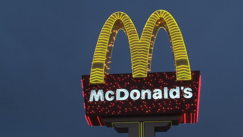 LAS VEGAS, NEVADA - CIRCA OCTOBER 2010: Closeup of the McDonald's sign in the Las Vegas skyline. - HD stock video clip