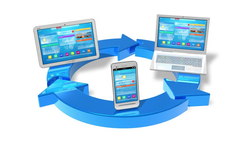 Cloud computing and wireless networking concept: white tablet PC, smartphone and laptop connected with blue round arrows isolated on white background with alpha matte