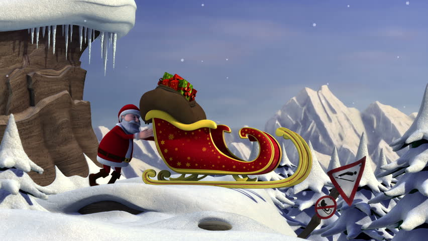 Cartoon Santa Claus using a ski jump to take off with his sleigh - high quality 3d animation