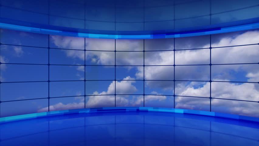 clouds on screens in blue virtual studio loop - HD stock footage clip