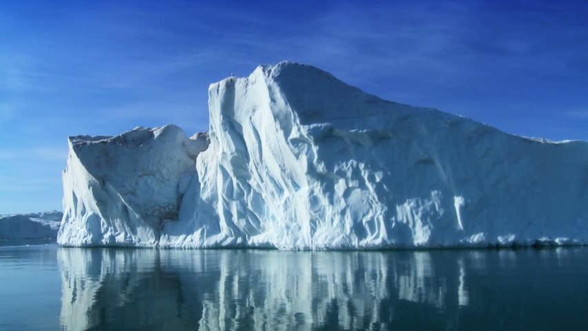 Iceberg adrift in the arctic broken from a landmass