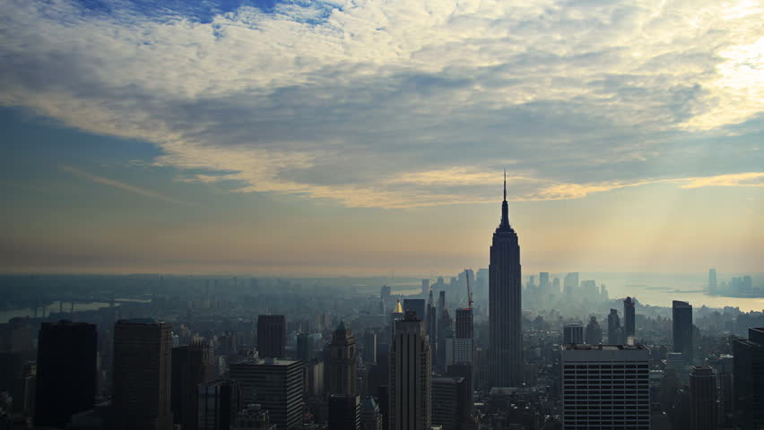 Time lapse of clouds over Manhattan skyline
