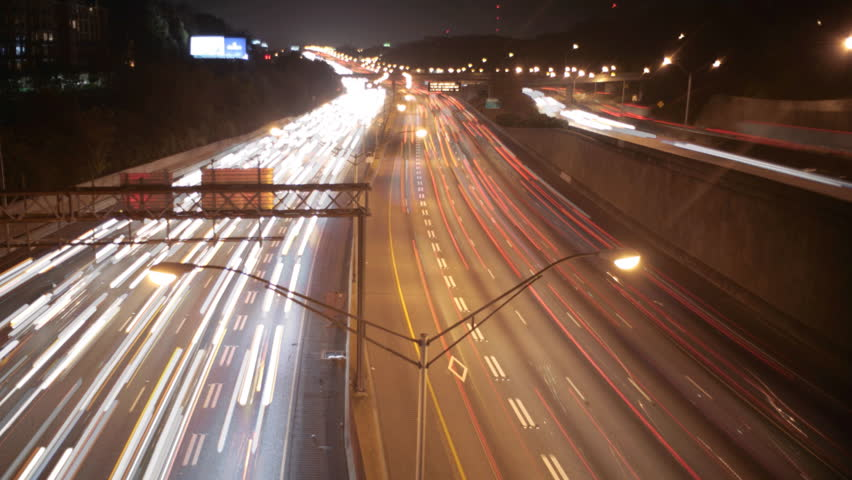 Night timelapse scene of car traffic and lights on highway HD - HD stock video clip