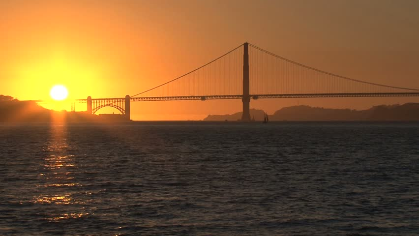 Sunset over the Golden Gate bridge - HD stock footage clip