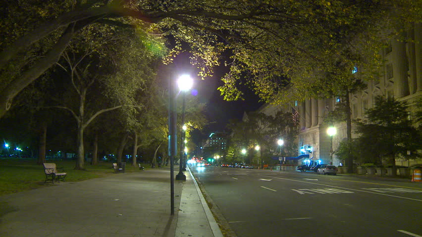 WASHINGTON, D.C. - CIRCA 2010: WASHINGTON, DC traffic at night - HD stock footage clip