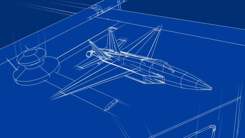 Jet Blueprint on Drafting Table - HD stock footage clip