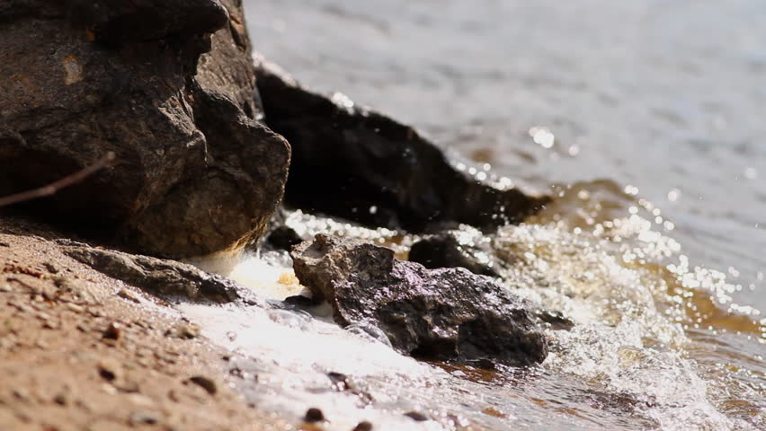 water and rocks  - HD stock footage clip