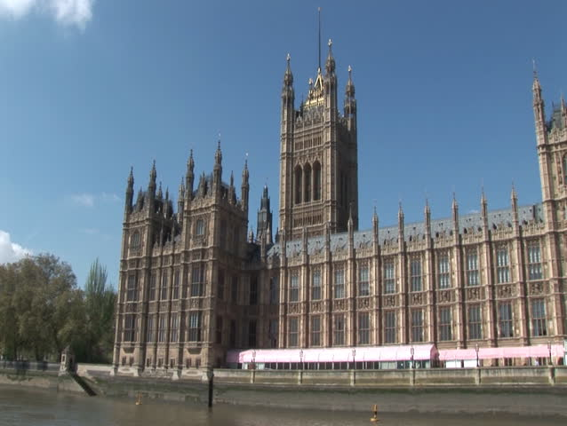 Pan of Westminster (Big Ben) London 1 (Lon018) - HD stock footage clip
