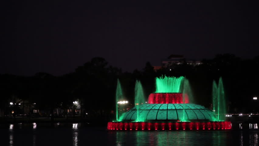 lighting for christmas on lake eola fountain stock