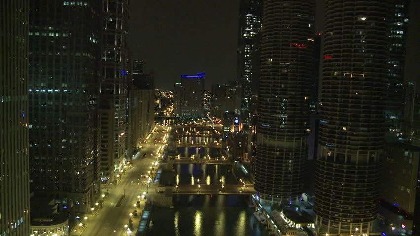 Lightning over Chicago - HD stock footage clip
