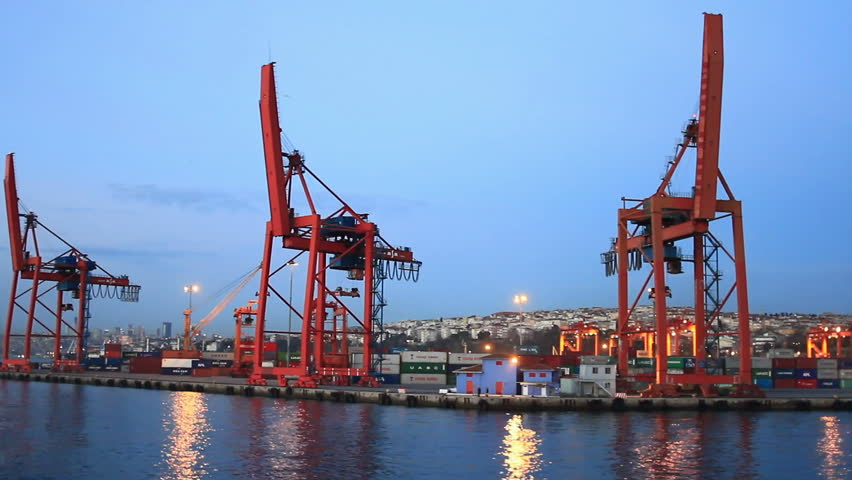 ISTANBUL - DECEMBER 21: Istanbul Container Harbour shot from the water side on