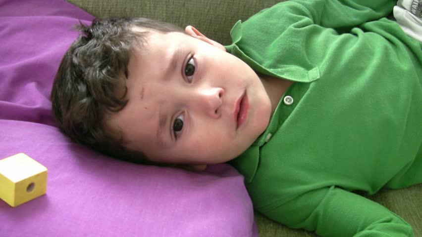 Sick Little Boy  - HD stock video clip