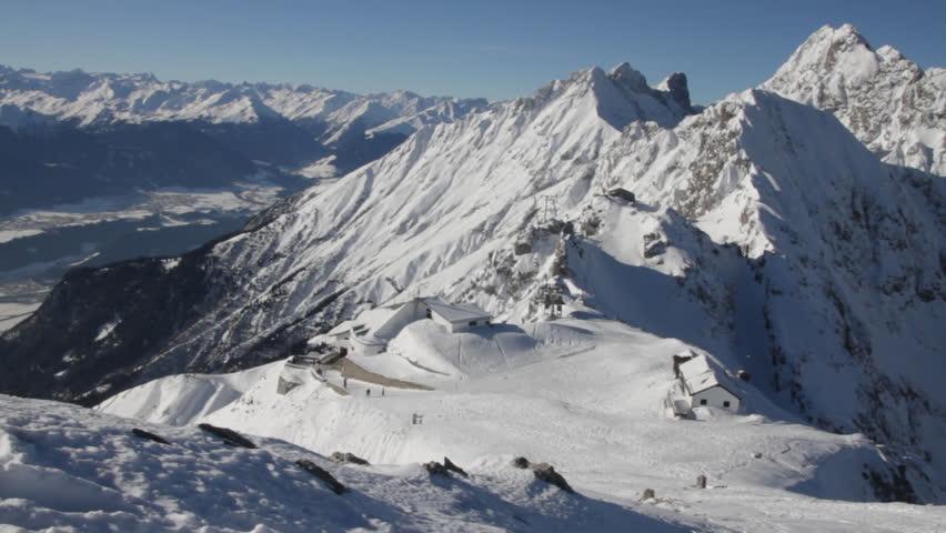 Great view of the Alps, top station of Innsbrucker Nordkettenbahnen. - HD stock video clip