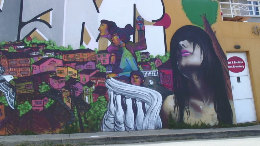 VALPARAISO, CHILE -  CIRCA 2010: A beautiful wall painting in Valparaiso, Chile - HD stock video clip