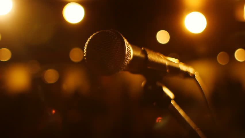 Microphone. Stage view of microphone. Shallow DOF.