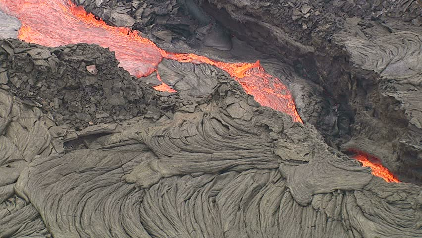 A red lava flow from Kilauea volcano