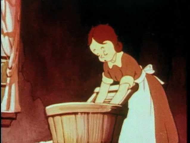 Cartoon Of Woman Washing Clothes By Hand Stock Footage ...