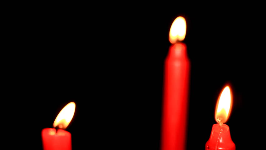 Three Red Candles On Black Background Stock Footage Video ...