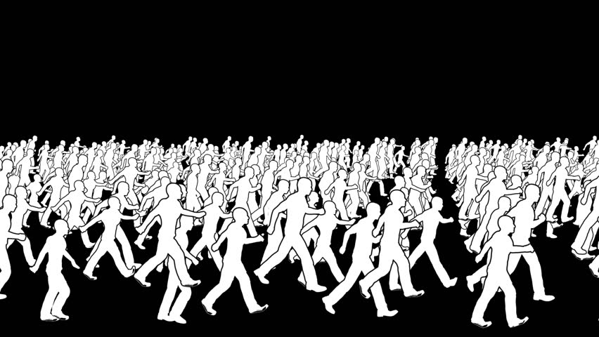 Silhouettes crowd walking, loop