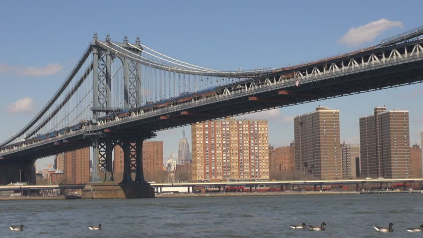 Beautiful Brooklyn Bridge over Hudson River in New York City, american landmark by day #18536420