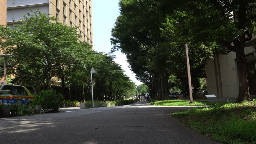 Street headed to a hospital at the university of Tokyo - HD stock footage clip
