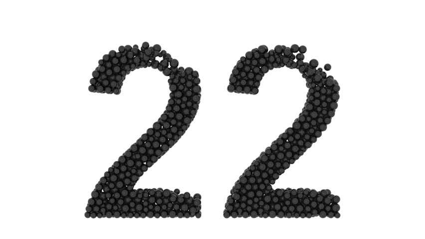 Number 22, twenty-two, made of small black balls densely packed to form the digit with a few missing at the top for a partial edge isolated on white | Shutterstock HD Video #18544646