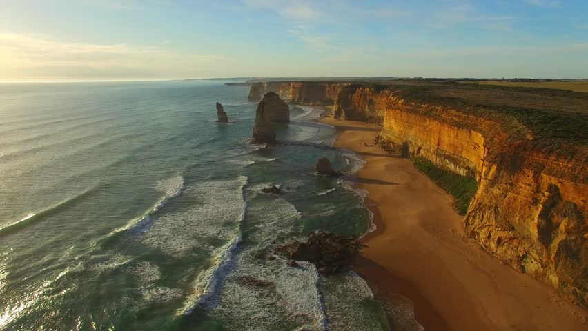 Twelve Apostles at sunset, aerial view of Australian Coast. | Shutterstock HD Video #18603650