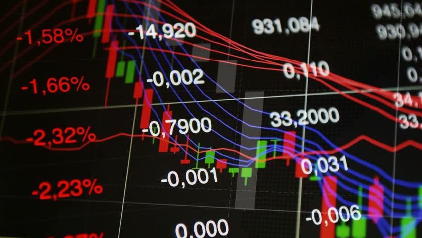 Stock market background. Financial markets, forex, stock exchange trading: market data, graph on the stock exchange trading screen, negative value tickers. Stock market down, crash concept background. | Shutterstock HD Video #18651332