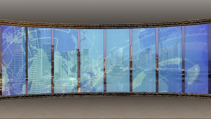 News TV Studio Set - Virtual Green Screen Background Loop | Shutterstock HD Video #18667217