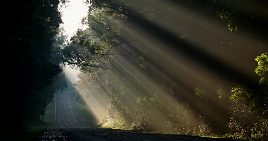 Sun rays shine down beautifully onto a highway or road. (2010s) | Shutterstock HD Video #18686567