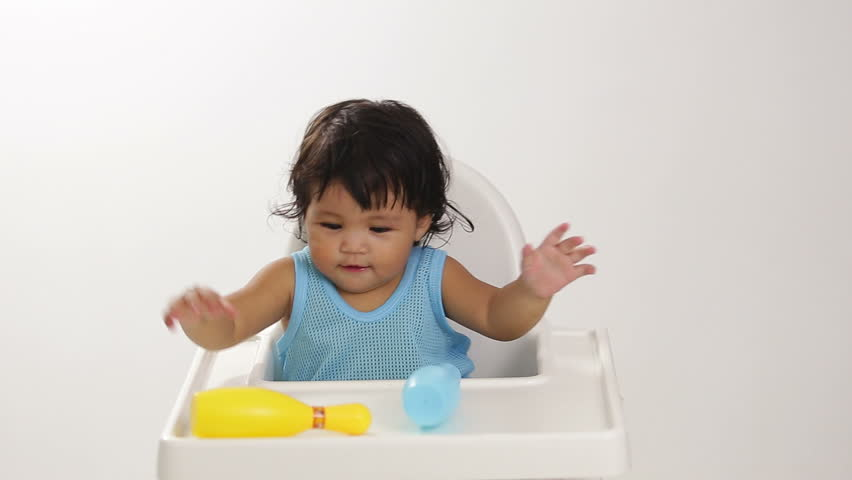 asian baby girl taking a shower in bathtub stock footage. Black Bedroom Furniture Sets. Home Design Ideas