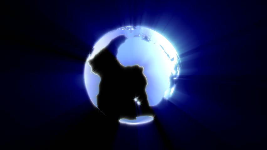 World globe shining with flowing background,seamless loop