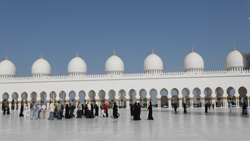 Sheikh Zayed Grand Mosque in Abu Dhabi, UAE - HD stock footage clip