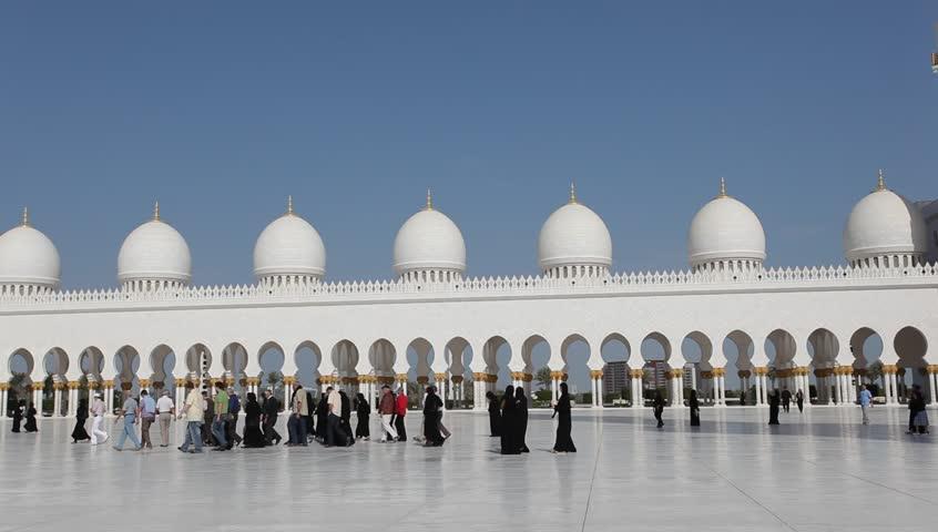Sheikh Zayed Grand Mosque in Abu Dhabi, UAE - HD stock footage clip