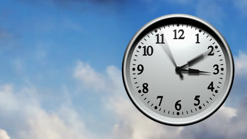 3D animation of a wall clock running very fast through 24 hours. Clouds fly past in the background. Seamless looping video animation.-