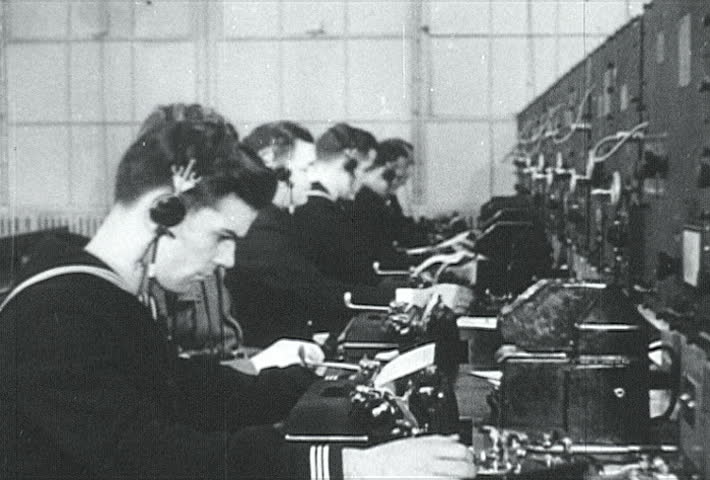 ATLANTIC OCEAN - CIRCA 1942-1944: World War II, Naval Clerks Sending Out Information Via Teletype, publisher National Broadcasting Service (U.S.)