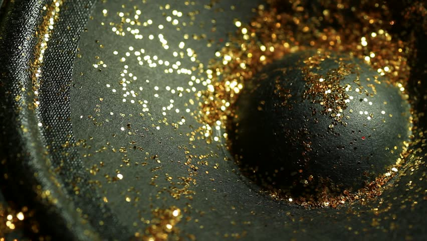 long clip of dancing gold glitter on loudspeaker - HD stock footage clip