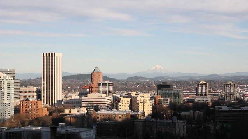 Panoramic View of Portland Oregon Cityscape and Mountains 1080p Panning - HD stock video clip