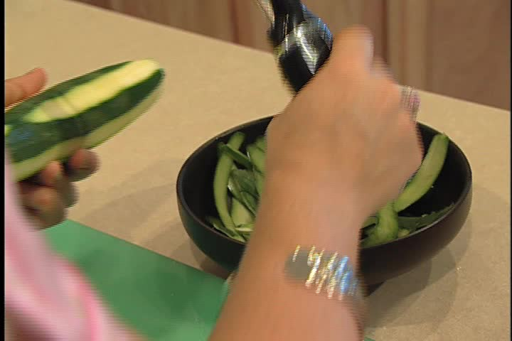 Julienne Cucumber - SD stock video clip