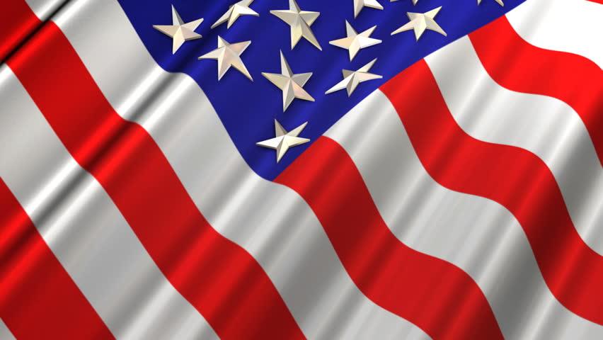 American Flag in Wind (Loop) - HD stock video clip